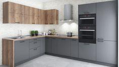 #kuchyně #šedá Brick, Kitchen Cabinets, Decorating, Home Decor, Restaining Kitchen Cabinets, Homemade Home Decor, Decoration, Bricks, Kitchen Base Cabinets