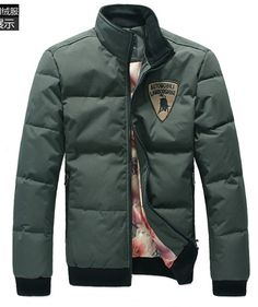 Men Thick Long Sleeve Stand Collar Army Green Leisure Polyester Down Jacket M/L/XL/XXL @X170731argr