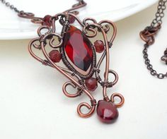Gothic Jewelry Diy Dark red gothic necklace wire wrapped copper by CreativityJewellery - Wire Necklace, Wire Wrapped Necklace, Copper Necklace, Wire Wrapped Pendant, Copper Jewelry, Wire Jewelry, Beaded Jewelry, Handmade Jewelry, Copper Wire