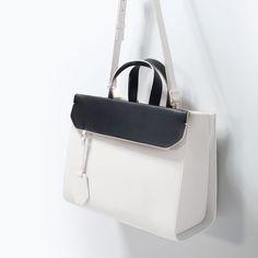 Everyday city bag from ZARA. Saved to Bags. Stylish Handbags, Fashion Handbags, Purses And Handbags, Fashion Bags, Leather Handbags, Designer Shoulder Bags, City Bag, Girls Bags, Backpack Purse