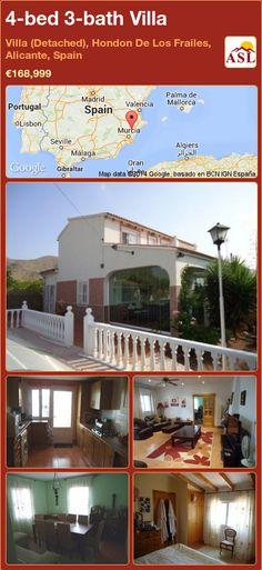 4-bed 3-bath Villa in Villa (Detached), Hondon De Los Frailes, Alicante, Spain ►€168,999 #PropertyForSaleInSpain