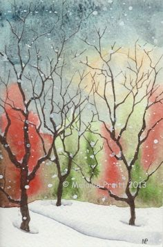 Shop at my friend Melanie's site for outstanding art work. For the gift recipient who has everything. Snow Woods ORIGINAL watercolor SFA  winter tree moon painting by M. Pruitt EBSQ