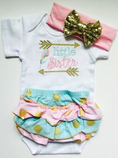 A personal favorite from my Etsy shop https://www.etsy.com/listing/278731236/little-sister-baby-sister-gold-outfit