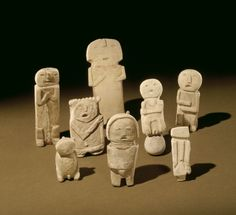 Mimbres artist(s). Stone Effigies, 1000–1100 B.C.E. Sanders, Arizona, United States. Stone, pigment. Museum Expedition 1903, Museum Collection Fund, 03.325.4527–.4534