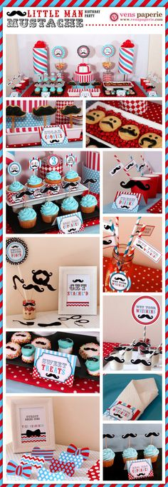 Little Man Mustache Birthday Party DIY printables, complete with photo props! (www.venspaperie.com)