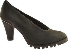 Antia Gaby Black Leather Long Beach Women's Leather Heels Pump in Size 7 M