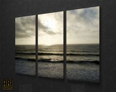 Ocean Framed  Nature Photo LARGE Canvas Art Print Ready to Hang - 3 PANELS 090. $157.00, via Etsy.