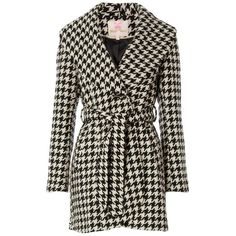 Miss Real Dogstooth Coat ($125) ❤ liked on Polyvore featuring outerwear, coats, jackets, coats & jackets, abrigos, hounds tooth coat and houndstooth coats