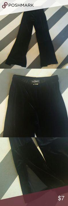 John Roberts 10 black velvet pants stretch material open back hems size 10 velvet pants no rips tears or stains Pants