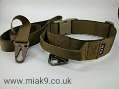 Dog collar + padded dog leash in dark coyote brown