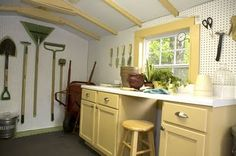 Potting Shed organization - love the countertop, window and pegboard
