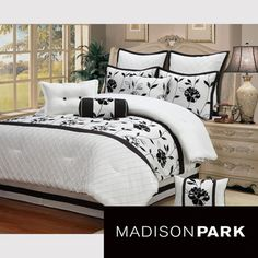 @Overstock - This textured solid colored comforter adds elegance to any bedroom with all the intricate details and specialized styling. Composed of quality polyester, the set features a white color with black flocking and pintuck.http://www.overstock.com/Bedding-Bath/Christina-10-piece-Comforter-Set/7424133/product.html?CID=214117 $89.99