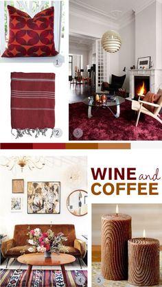 Mood board challenge: wine and coffee #moodboard #colorscheme #fallcolors #burgundy #coffee #brown #carpet #falldecor #cozyinterior