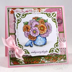 Inspired to Stamp: Colourful Zinnias