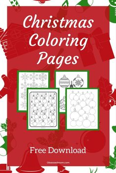 Christmas Coloring Pages!  Free PDF download.  Coloring pages with a Christmas theme.  Great for all ages! Quick and easy activity.  Christmas fun for everyone in the family!