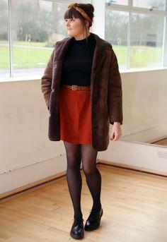 PixiRella: Suede & Sheepskin / retro vintage fashion, sheepskin coat, suede skirt, dr martens, bandana / 60s, 70s, mod