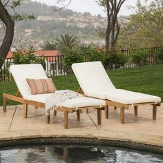 Ariana Outdoor Acacia Wood Chaise Lounge with Cushion (Set of 2) by Christopher Knight Home - Free Shipping Today - Overstock.com - 18137741