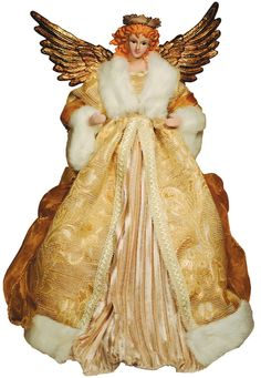 "Santa's Workshop 16"" Ivory And Gold Angel Tree Topper"