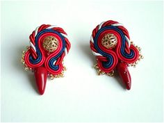 Sailors / soutache earrings navy blue and red with coral