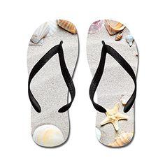 fa93274364d2 JKYUKO Star fish and beautiful shell in the sandy beach flip flops Adults  MBlue