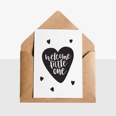 Welcome Little One  Greeting Card  Kraft Envelope - Early Buds has designed these unique hand lettered new arrival / preemie greeting cards, perfect way to congratulate any new parent!