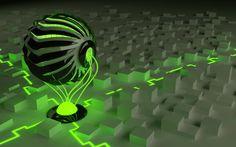 графика, абстракция, 3D, шар, зеленый