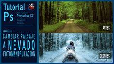 Tutorial Photoshop fotomanipulación paisaje verano a paisaje nevado en i...