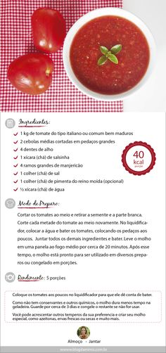 molho-tomate-post-blog-da-mimis-michelle-franzoni-01 I Love Food, Good Food, Yummy Food, Vegetarian Recipes, Cooking Recipes, Healthy Recipes, Menu Dieta, Learn To Cook, Food Hacks