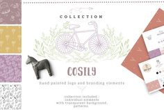 Cosily collection - Illustrations - COSILY hand painted logo and branding element Watercolor Logo, Wreath Watercolor, Watercolor Texture, Watercolor Design, Watercolor Flowers, Pencil Illustration, Graphic Illustration, Illustrations, Create Drawing