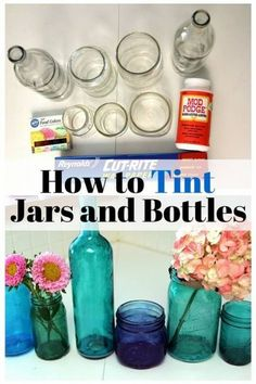 Are you ready for another beautiful D. Try this astonishing D. tinted bottles and jars.Turn thoseold and unused bottles and jars into attractive home decor pieces. With just plain bottles and jars, you can make lovely tinted Wine Bottle Art, Wine Bottle Crafts, Mason Jar Crafts, Crafts With Bottles, Decorating With Glass Bottles, Mason Jar Projects, Starbucks Glass Bottle Crafts, Plastic Jar Crafts, Patron Bottle Crafts