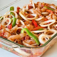 Oven Baked Chicken Fajitas. Everything is done in a 9x13 for 25 minutes. Remove and serve in warmed tortillas!