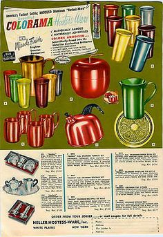1951 Ad Heller Hostess Ware Colorama Anodized Aluminum Tumblers Glasses Pitcher | eBay