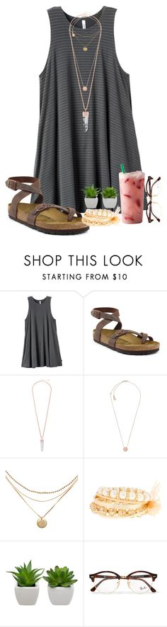 """""""Birks!!"""" by a-m-l-d ❤ liked on Polyvore featuring RVCA, Birkenstock, Kendra Scott, Michael Kors, claire's and Ray-Ban"""