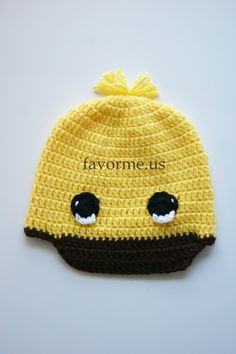 """8"""" x 18"""" Yellow Crochet Duckling Hat. 12 Months - 4 Years."""