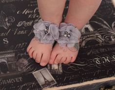 Barefoot Baby Sandals & Headband - Grey