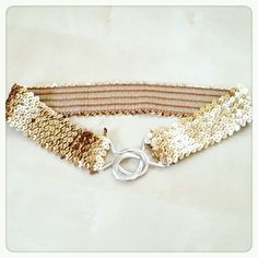 Gold Sequin Waist Belt Perfect Waist belt to wear with a oversized top or dress   Like new   Stretchable Accessories Belts