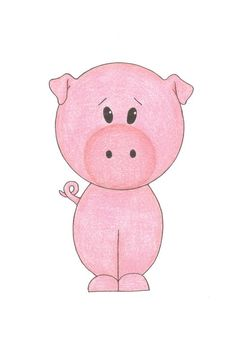 Nursery Art - Little Pig, 5x7 Matted Print. $9.00, via Etsy.