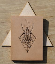 Tattooed leather art. Handmade. Inked with a tattoo machine. Original artwork. Geometric Mono  Bug with Triangle in gift box