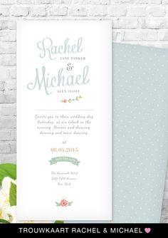 trouwkaartje Rachel & Michael van charlyfine.nl #trouwkaart #wedding