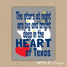 Texas Wall Art PRINTABLE. The Stars at Night Are Big and Bright Deep in the Heart of Texas. State of Texas sign. Wall Art DIGITAL file. $8.00