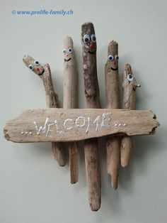 Willkommensschild aus Holz