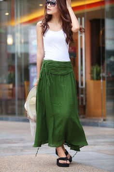 Summer Maxi skirt Long  Linen Skirt In Forest Green