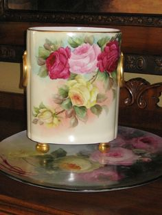Gorgeous Antique Limoges France Cache Pot Hand Painted Roses Classic from oldbeginningsantiques on Ruby Lane