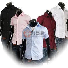 纯色潮男修身短袖衬衫 $5.99
