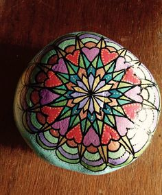 Garden mandala stone, extra large..Paint mandala designs on rocks!! It really brightens things up;and it's fun for everybody!