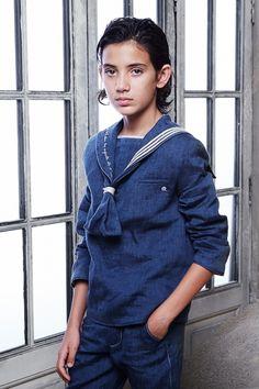 casaca-aitor Denim Button Up, Button Up Shirts, Polo Shirt, T Shirt, Couture, Boy Fashion, Ruffle Blouse, Boys, Long Sleeve