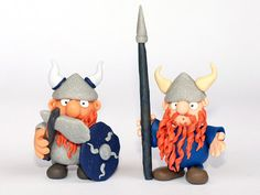 Custom Dwarf figurine Viking miniature with battle weapon shield and horn helmet, fantasy figure polymer clay - BUILD YOUR OWN Custom One! by RoSCreatures, $29.50  @Pompon Designs