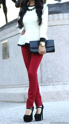 in love with her shoes and peplum blouse maroon pants puts outfit together :)