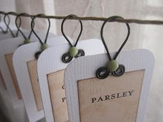 cute for jewelry tags. Use wire for twisted loops.