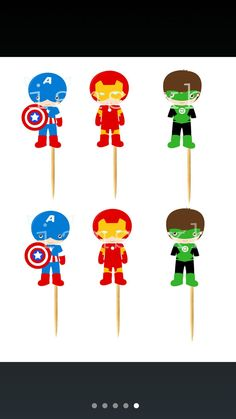 Superhero die cuts for cupcake/cakepop toppers by iamsoxhy on Etsy